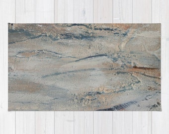 Textured wood look rug, abstract painting rug, rubber backed rug, gray and beige carpet, neutral area rug, living room floor decor