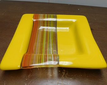 FUSED GLASS PLATE Orange Red White Yellow Small Plate