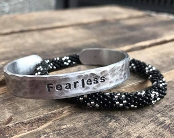 Fearless Stamped Adjustable Cuff Bracelet
