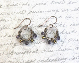 Wire Wrapped Jewelry, Wire Wrapped Earrings, Crystal Earrings, Beaded Earrings, Brass Earrings, Festival Accessories, Festival Jewelry