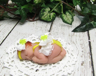Polymer Clay Red Hair Baby with Bright Yellow Lacy Sunsuit,  Headband and Blanket