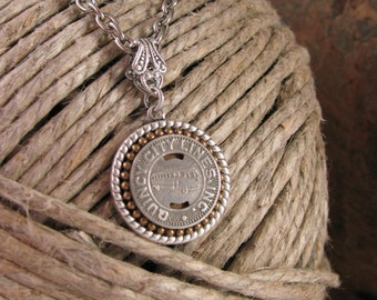 Quincy Illinois Bus Token Necklace - Transit Token Jewelry - Coin Jewelry - Gift for Her - Holiday Gift