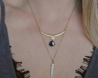 Raw Black Tourmaline and Ivory Howlite Point Spike Raw Brass Bar Necklace.Geometric Gemstone Necklace. Minimalist. Dainty Layered Bar