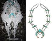 Double Strand Squash Blossom Faux Turquoise Necklace Naja Horseshoe Crescent Moon Large Medallion Statement Pendant Silver Bead Costume Long