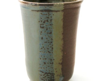Stoneware Pottery Vase. Wood Fired. Medium. Rich Earth Tones. Brown. Khaki Green. Teal Green. Tan. Gray Green. Chocolate Brown. Rustic. OOAK