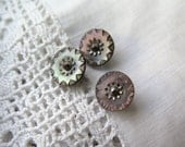 Antique Buttons Smokey Mother of Pearl Etched with Cut Steel Rivet and Shank Handmade Buttons Set of Three 12 mm