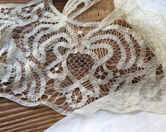 Antique Battenburg Lace Collar Late 1800's in Ivory Cotton Tape Lace