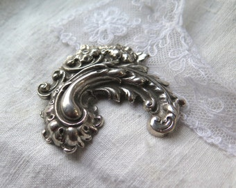 Victorian Repousse Silver Brooch Paisley Scroll