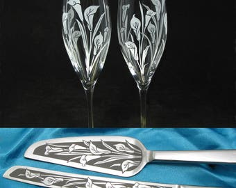 Calla Lily Wedding Cake Server & Champagne Flute Set for Spring Floral Bouquet for Reception Decor