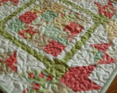 RESERVED FOR KATHRYN Pretty Tulip Doll Bed Quilt, Table Topper, Strawberry Fields