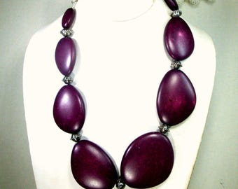 Big Aubergine Eggplant Kidney Bean Shaped Graduated Beads w Silver Tribal Spacers, Adjusrable Length Chain, Lightweight and Large