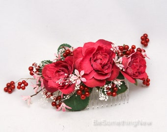 Flower Hair Comb in Marsala Burgundy and Pink Bridesmaids Hair Accessory Floral Woodland Wedding Hair Comb