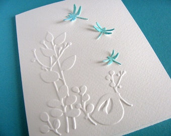 3D Watercoloured Dragonflies with Embossed Whimsical Bird on Creamy Ivory Card. Turquoise, Deep Aqua, Medium Teal. A2 Size. Ready to Ship