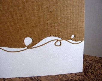 Kraft Swirly Border on Creamy Ivory Card / Border Color Shown or Your Choice / Single Card or Set of 3 Cards / A2 Size / Made to Order