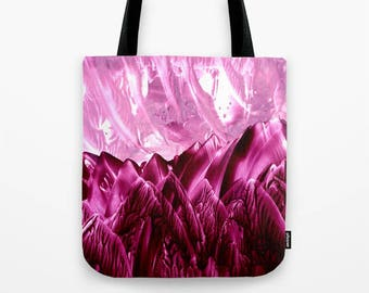 Cranberry Fantasy Custom Tote Bag / Encaustic Art on Tote / Book Tote / Market Tote / Available in 3 Sizes / Made to Order