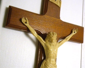 Wooden Cross with Beveled Edge and Celluloid Jesus on Cross - Vintage Catholic Wall Hanging Shrine