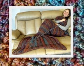 Mermaid Blanket Crocheted, Thick Adult Teen Blanket, Mama Fin,  Orange, Turquoise, Brown, Olive Green, Ready To Ship, Sante Fe Colors
