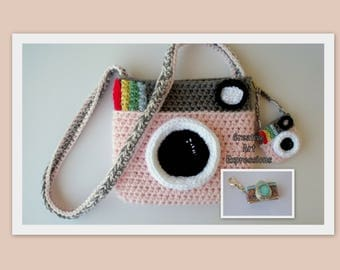 Camera Purse, Pink, Gray, Camera Bag, Camera Bag Purse, Stylish Camera Bag, Crochet, Fashion Camera Bag, Cute Camera Bag, Handmade, Fabric