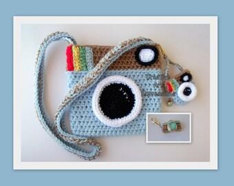 Camera Purse, Light Blue, Brown, Camera Bag, Camera Bag Purse, Stylish Camera Bag, Crochet, Fashion Camera Bag, Cute Camera Bag, Handmade, F
