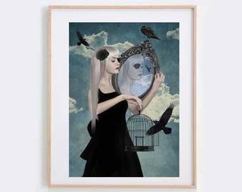 Surrealism Art Print - Girl & Blackbirds - Surrealism Art - Art Print - Archival Print - The Reflection