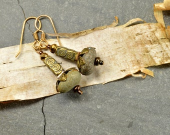 Steampunk genuine super rounded grey  Maine sea stone earrings from the coast of Maine with bronze accents