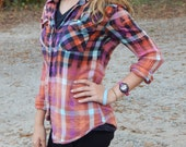 Distressed plaid flannel shirt - bleached dipped splattered distressed - Size M (female, junior sizing) (S01)
