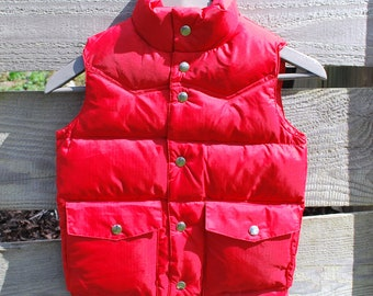 Vintage Red Nylon Feather Down Puffy Vest New Old Stock