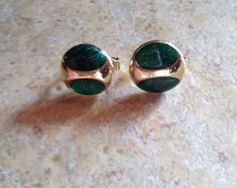 Sparkly Emerald Green Goldtone Button Earrings