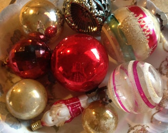 Assortment of 9 Old Christmas Ornaments