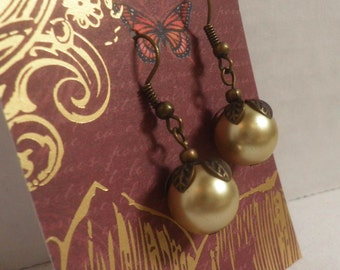 Golden Champagne Pearl Earrings, oxidized brass, tiny leaves
