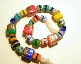 25 Assorted Colors of Square Opaque Glass Beads: Some with Goldtone Stripes --- Lot 3M