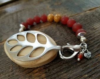 Bella Beat Leaf Nature Accessory - bellabeat carnelian gemstone with mustard jasper .925 sterling silver charm and caps