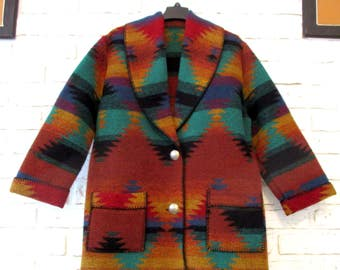 Vintage Serape Navajo Western Southwestern Blanket Coat Jacket Tribal Print Festival Clothing Large