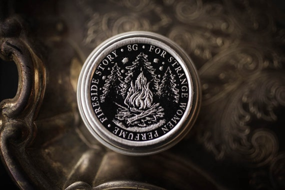 Fireside Story™ - natural solid perfume with wood, vanilla, campfire smoke, bonfire scent, tree resins, sandalwood - unisex