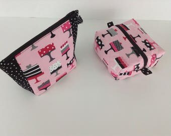Pink deserts Travel bag  padded  zipper pouch with matching makeup bag  is a      2  piece set