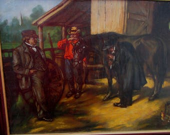 Antique Western Oil Painting of Country Veterinarian & Horse