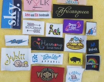 100pcs Custom Woven Labels (Artwork) for Boutique, Hoods, Tee, Hat, Shirt, Dress, James,  Tops, Bottoms, Capris, Pants, Jeans, Skirts