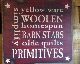 Primitive  Stenciled Word Sign Barn Red over Black