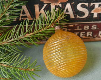 Antique German Gold Glass Spiral Ribbed Christmas Ornament