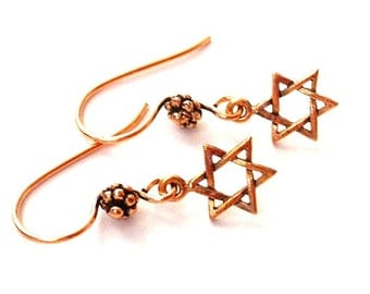 Copper Star of David earrings, Hanukkah gift, antiqued copper Judaica earrings, Magen jewelry, Hebrew theme, Jewish gift