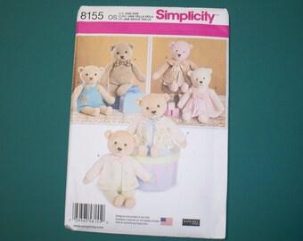 New Simplicity Stuffed Bear Pattern 8155 (Free US Shipping)