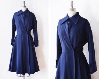 vintage 50s coat, 1950s princess coat, navy wool new look coat, small s / extra small xs