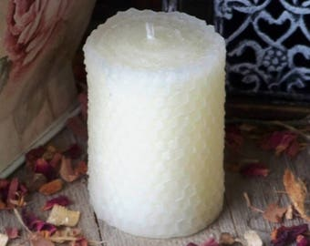 ELEGANT Small Ivory Beeswax Hand Poured Pillar Candle with Hand Rolled Look All Natural 100% Premium Beeswax - Naturally Aromatically Divine