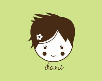 Custom Rubber Stamp   Custom Stamp   Personalized Stamp   Gifts for Her   Doll Stamp   Girl Stamp   Dani   C327