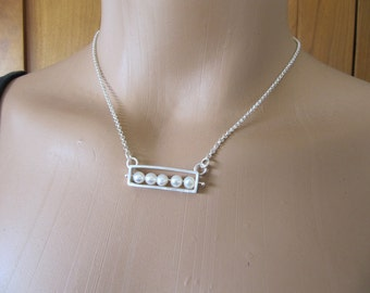 Pinned Pearl Necklace in Sterling Silver