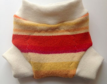 Wool Diaper Cover -  Recycled Red and Orange Stripes Wool and Interlock Wool Diaper Soaker - NB - Small