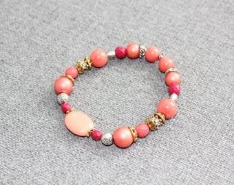 bracelet, chic, estival, corail, fushia, coral, funky, bracelet empilable, delicat, cadeau pour elle, bracelet pour femme, vintage, or