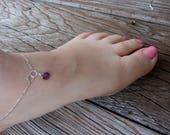 Amethyst Anklet,Beachy Anklet, Ankle Bracelet, Purple Anklet,  February Birthstone, February Birthday, Amethyst Anklet, Bridesmaid Anklet