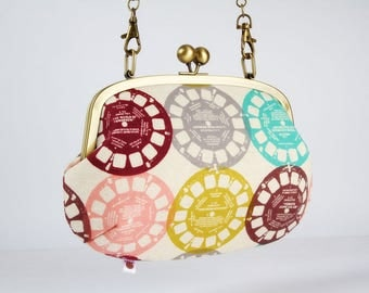 Metal frame purse with shoulder strap - Viewfinders in pastel - Swing purse / Japanese fabric / Melody Miller / Retro bag / pink yellow mint