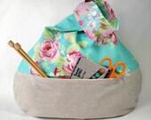 knitting crochet sock shawl scarf project bag - japanese knot bag zippered pocket - blue floral Tanya Whelan fabric  - free knitting pattern